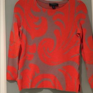 Anne Taylor Fan Leaf Jacquard Sweater-Orange & Tan